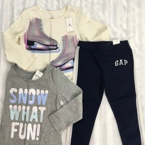 Gap 2t long sleeve graphic winter tees and legging